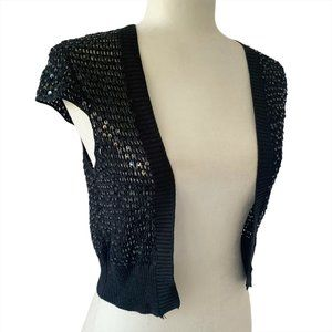 BCBGMaxAzria Silk Sequin Bolero Shrug Black Medium